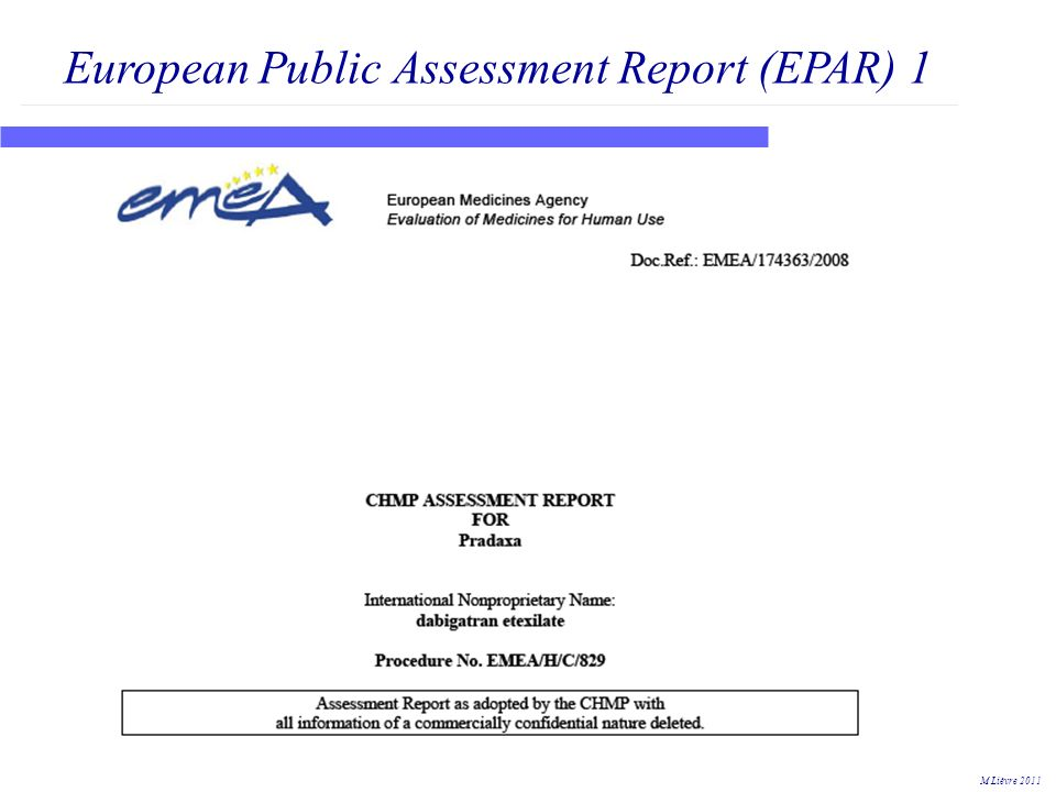 European Public Assessment Report (EPAR) 1