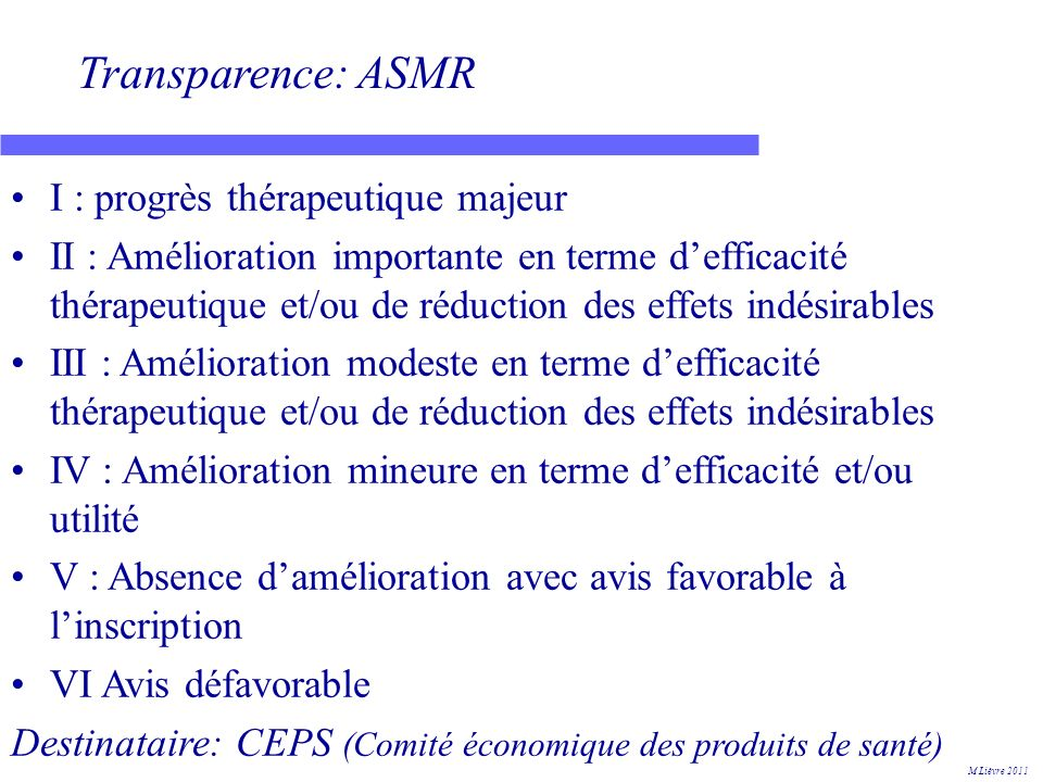 Transparence: ASMR I : progrès thérapeutique majeur