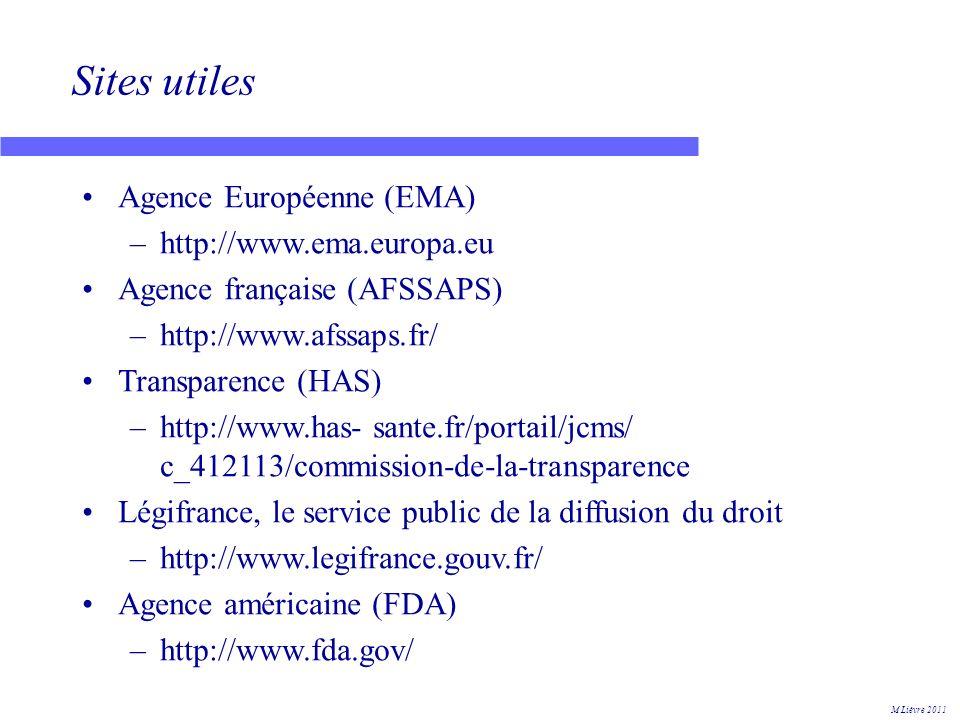 Sites utiles Agence Européenne (EMA) http://www.ema.europa.eu