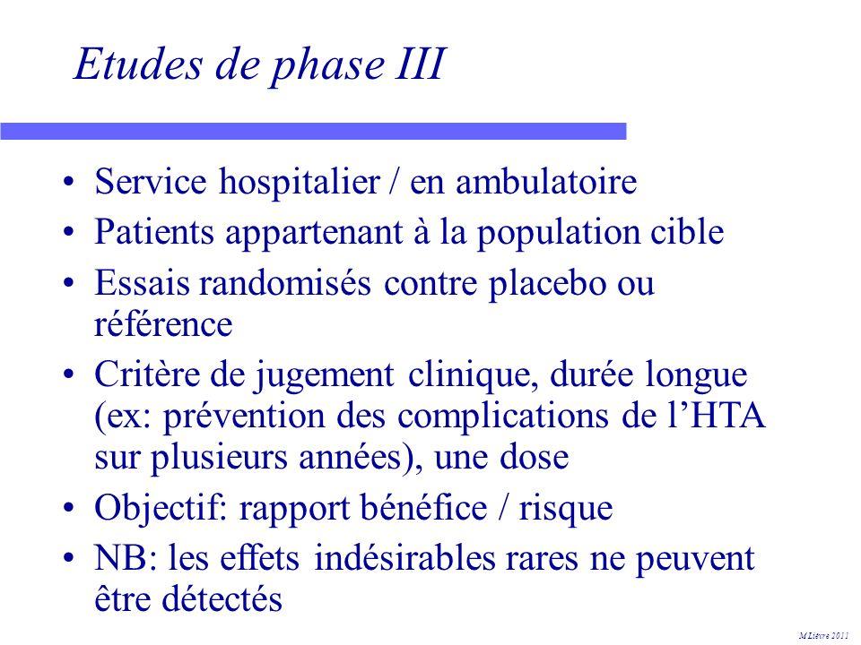 Etudes de phase III Service hospitalier / en ambulatoire