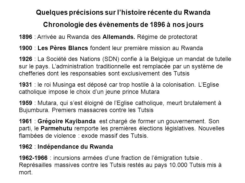 Quelques précisions sur l'histoire récente du Rwanda