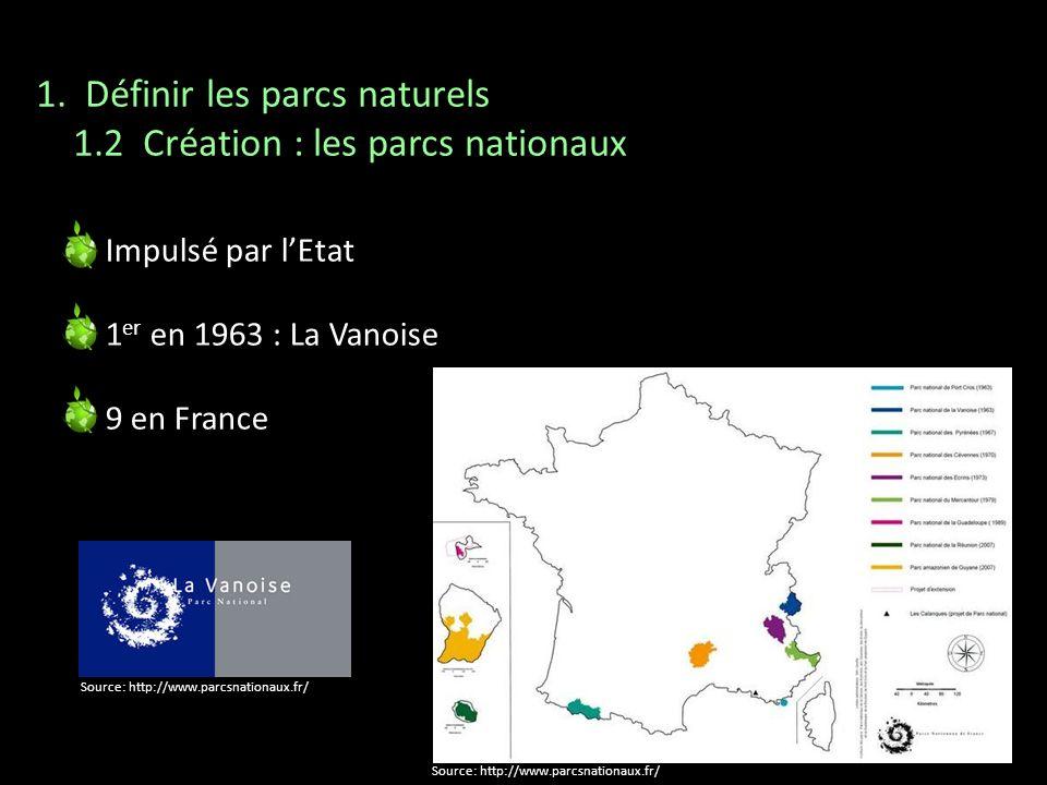 1. Définir les parcs naturels 1.2 Création : les parcs nationaux