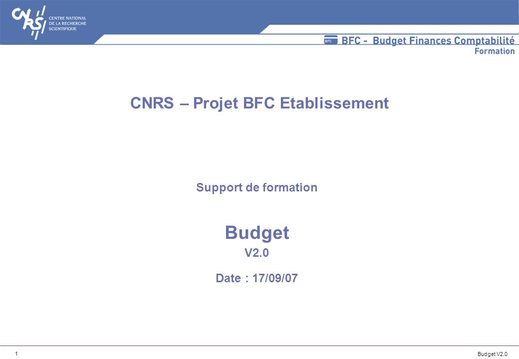 Support de formation Budget V2.0 Date : 17/09/07
