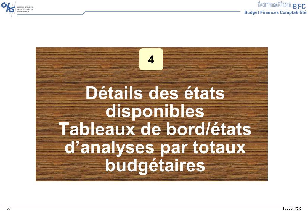 4 Détails des états disponibles Tableaux de bord/états d'analyses par totaux budgétaires