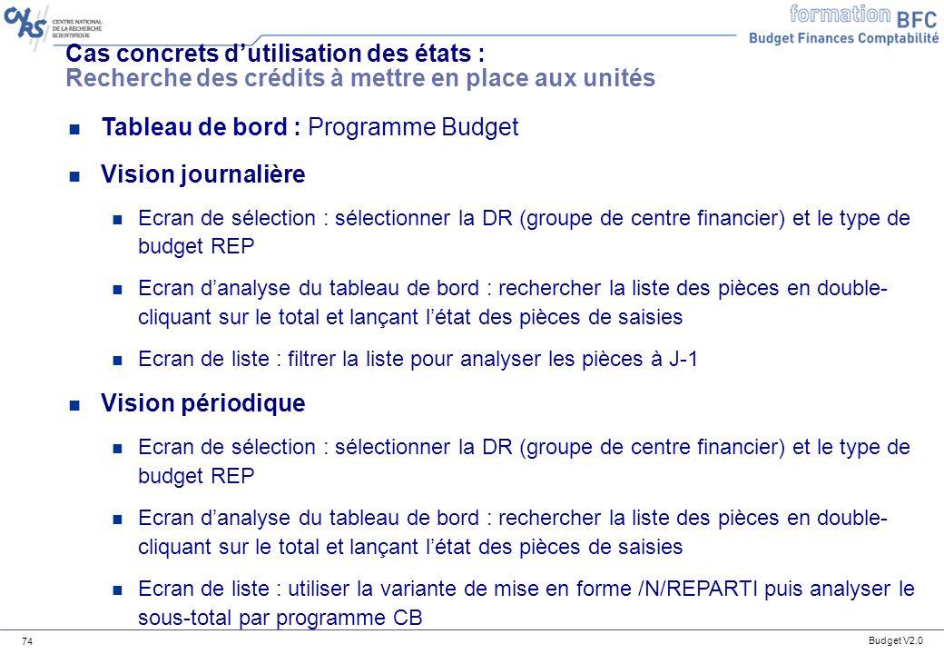 Tableau de bord : Programme Budget Vision journalière