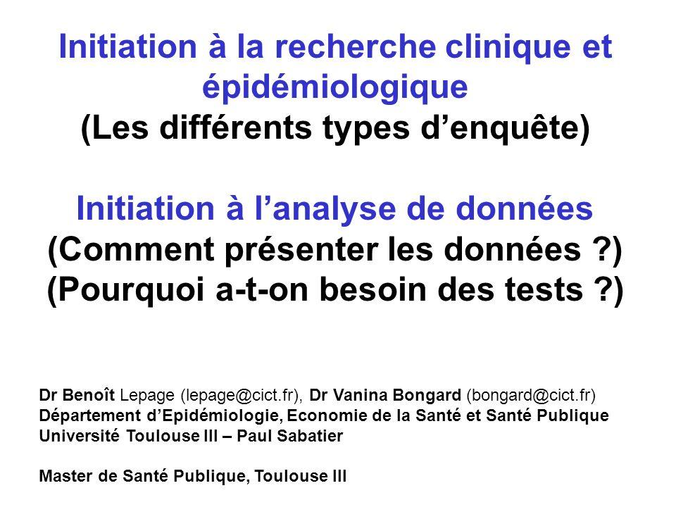 Initiation à la recherche clinique et épidémiologique