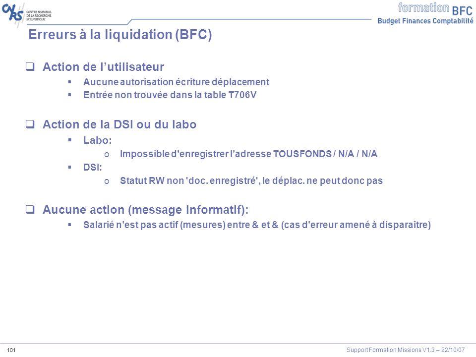 Erreurs à la liquidation (BFC)