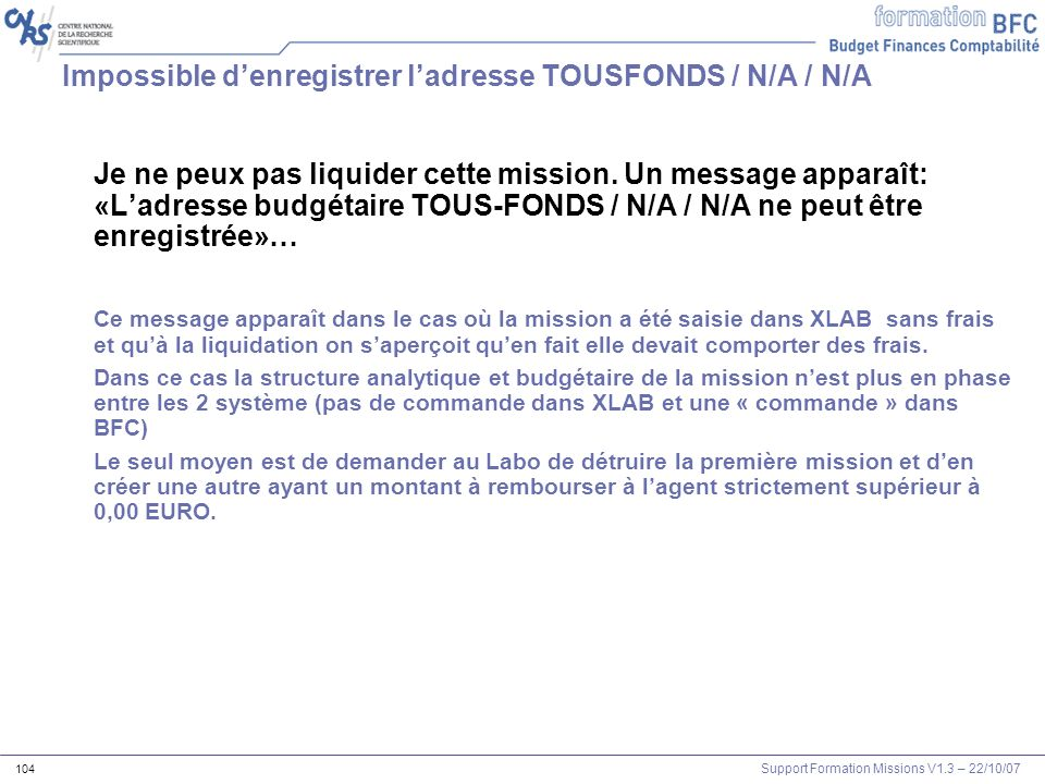 Impossible d'enregistrer l'adresse TOUSFONDS / N/A / N/A