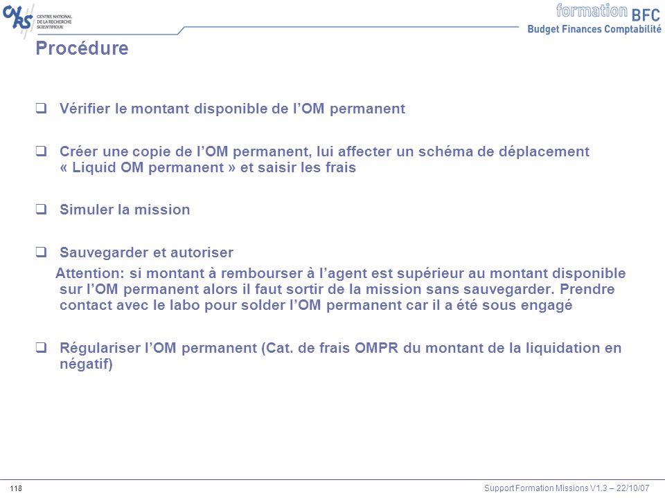 Procédure Vérifier le montant disponible de l'OM permanent