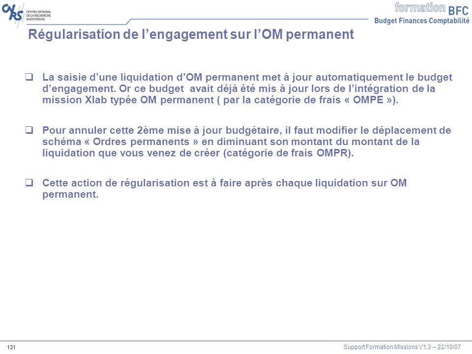 Régularisation de l'engagement sur l'OM permanent