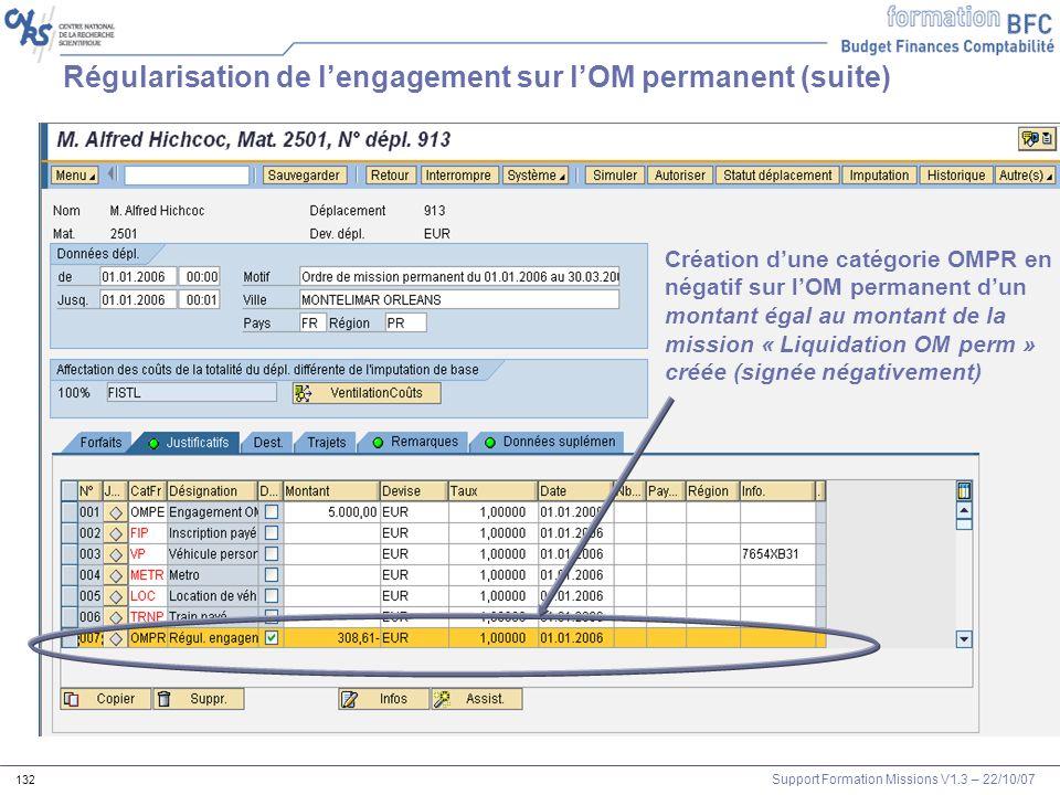 Régularisation de l'engagement sur l'OM permanent (suite)