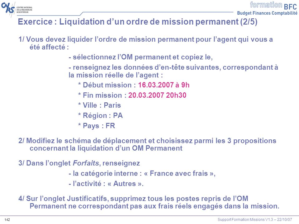 Exercice : Liquidation d'un ordre de mission permanent (2/5)