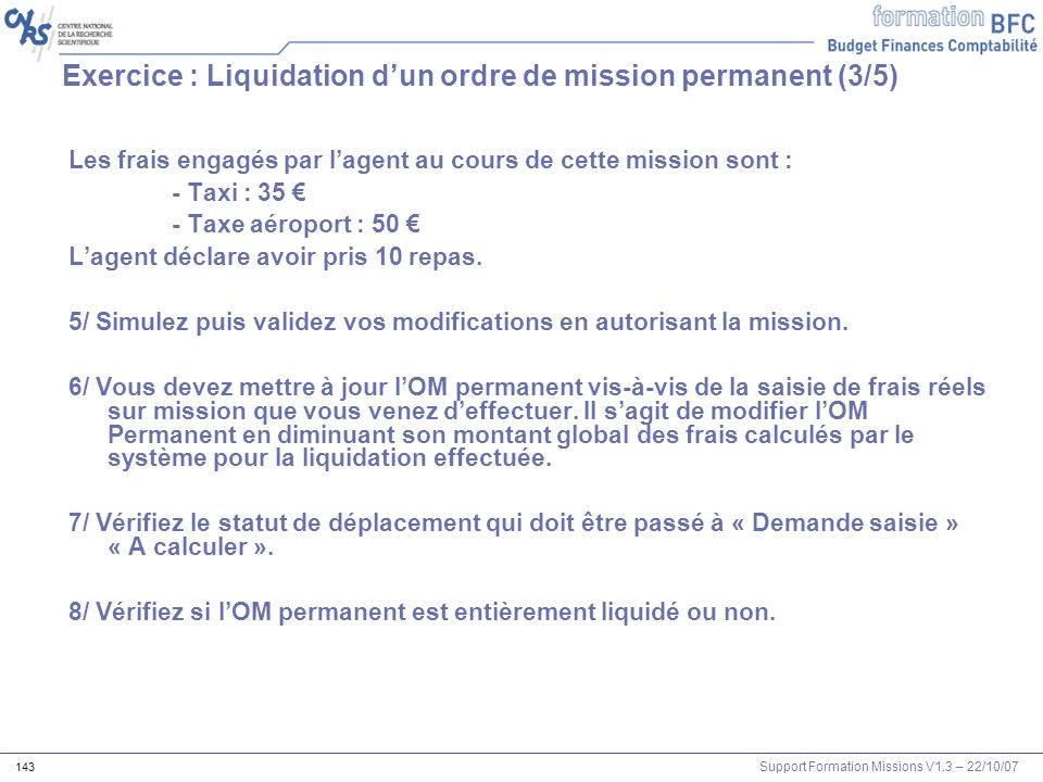 Exercice : Liquidation d'un ordre de mission permanent (3/5)