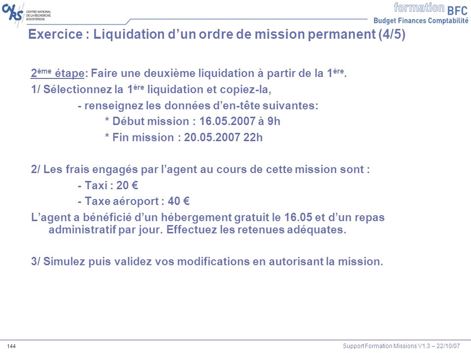 Exercice : Liquidation d'un ordre de mission permanent (4/5)