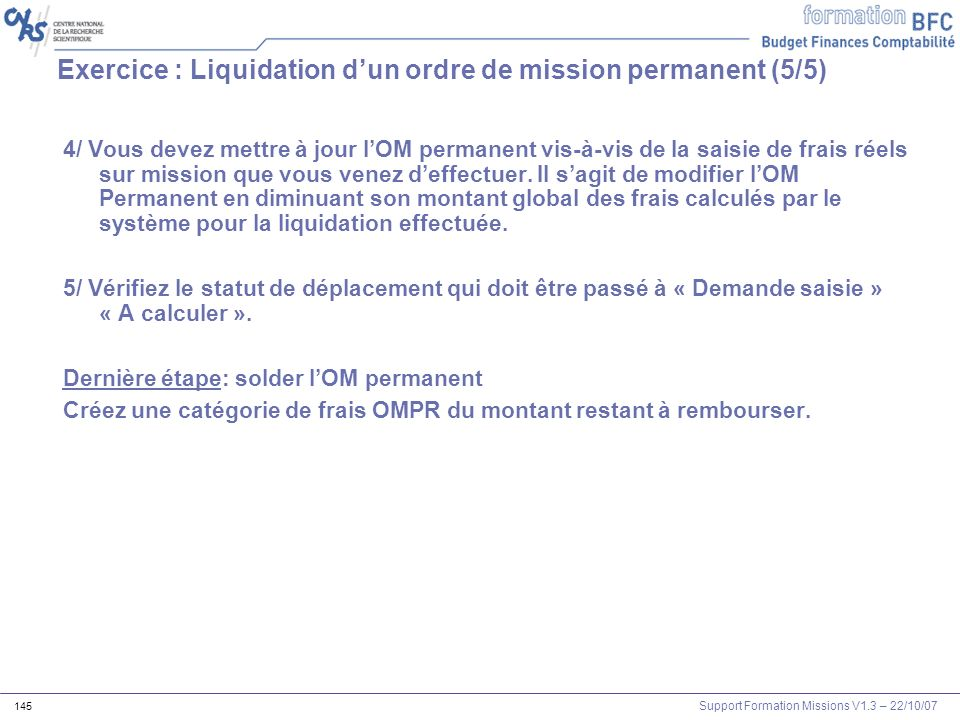 Exercice : Liquidation d'un ordre de mission permanent (5/5)