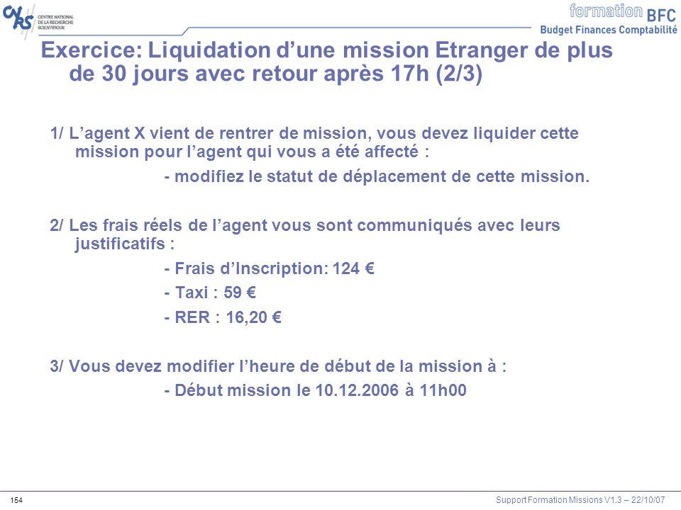 Exercice: Liquidation d'une mission Etranger de plus de 30 jours avec retour après 17h (2/3)