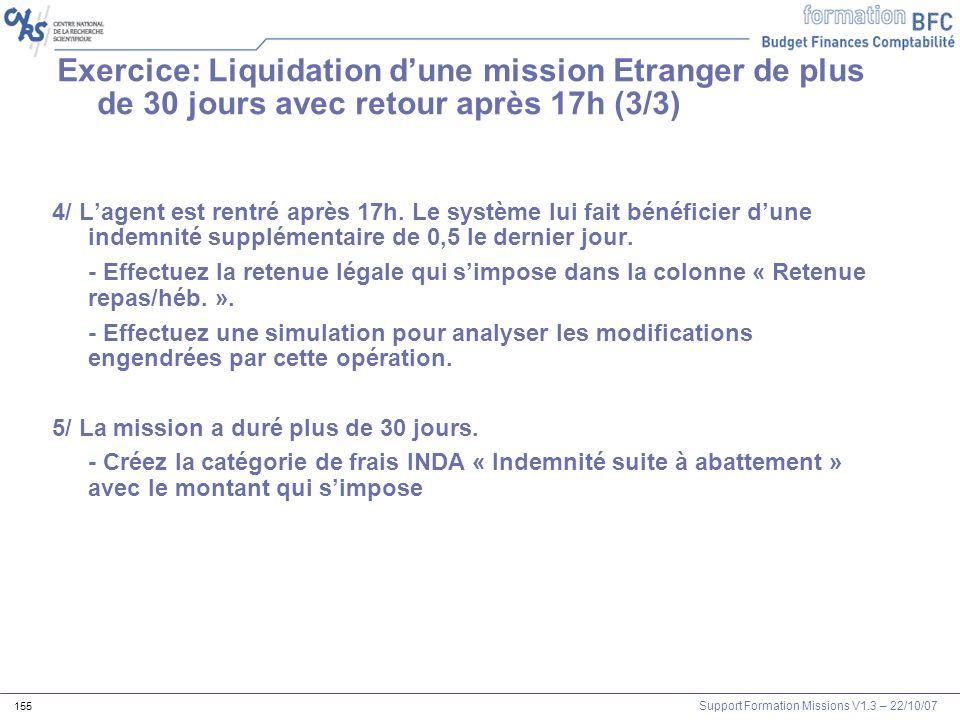 Exercice: Liquidation d'une mission Etranger de plus de 30 jours avec retour après 17h (3/3)