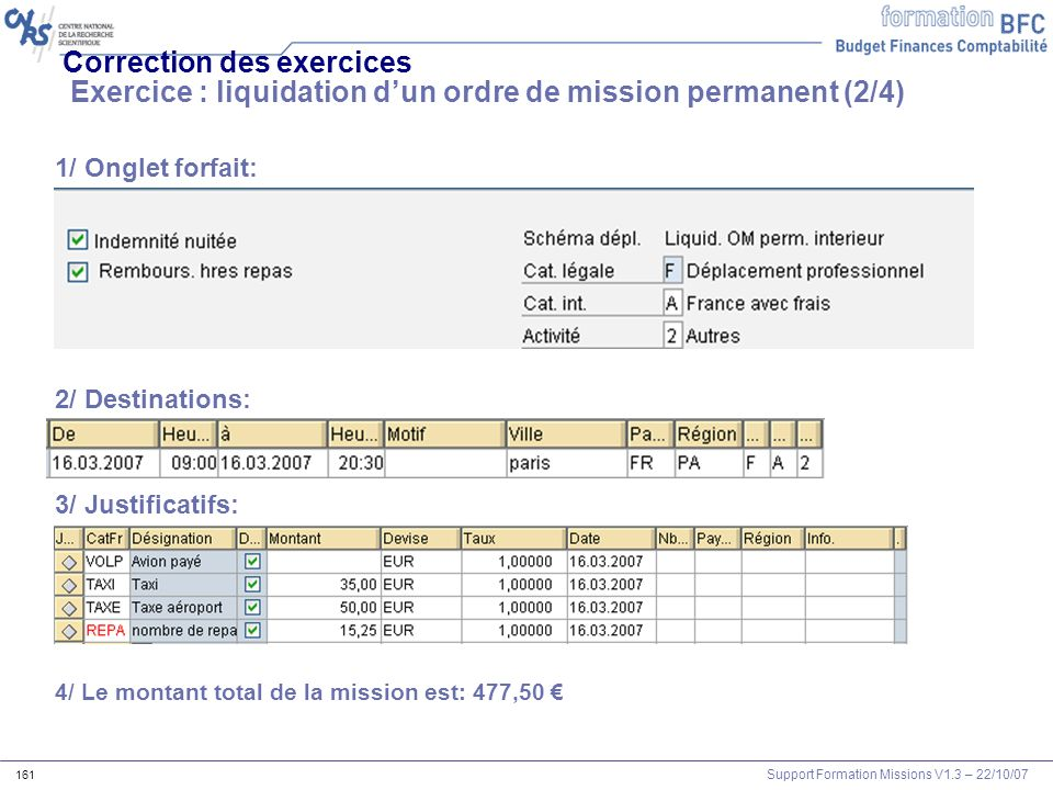 Correction des exercices Exercice : liquidation d'un ordre de mission permanent (2/4)