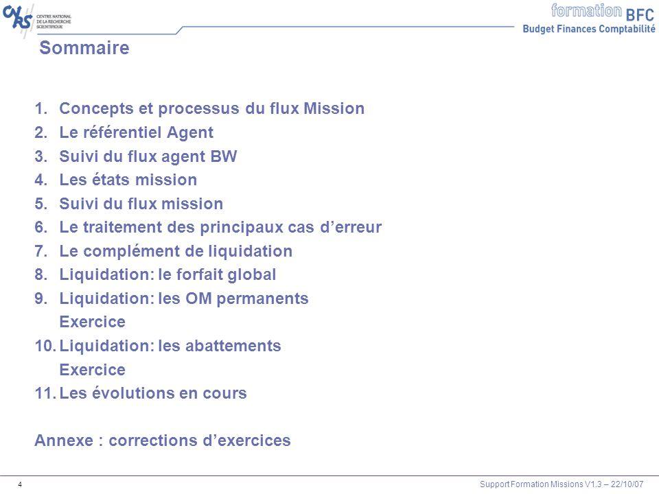 Sommaire Concepts et processus du flux Mission Le référentiel Agent