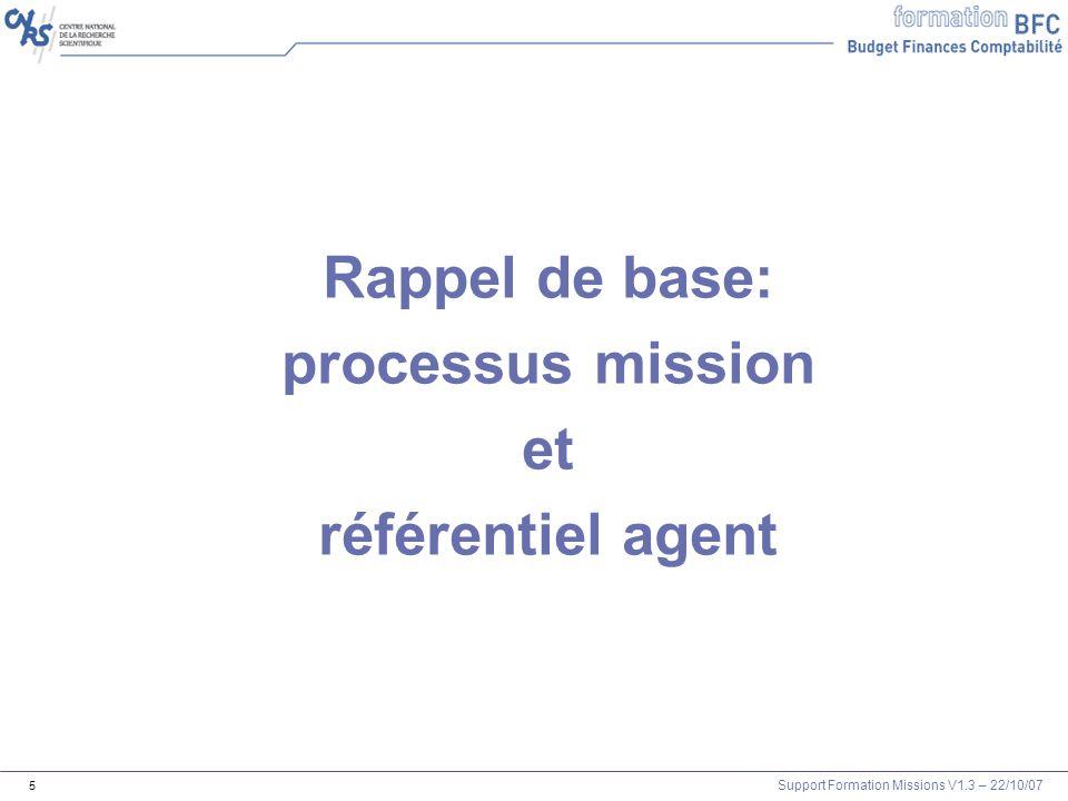 Rappel de base: processus mission et référentiel agent