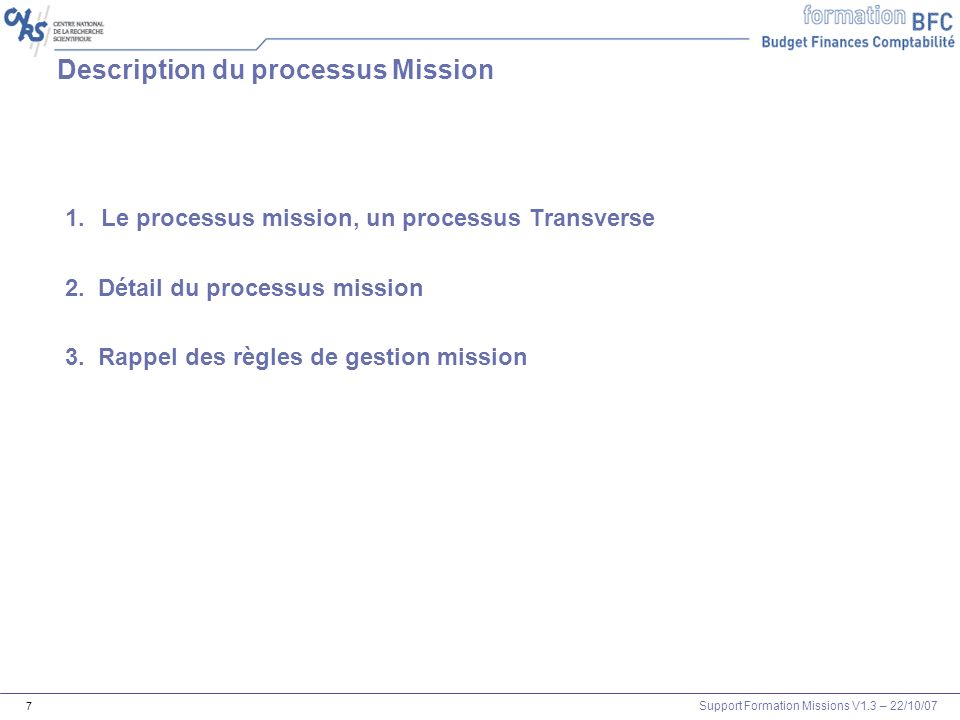 Description du processus Mission
