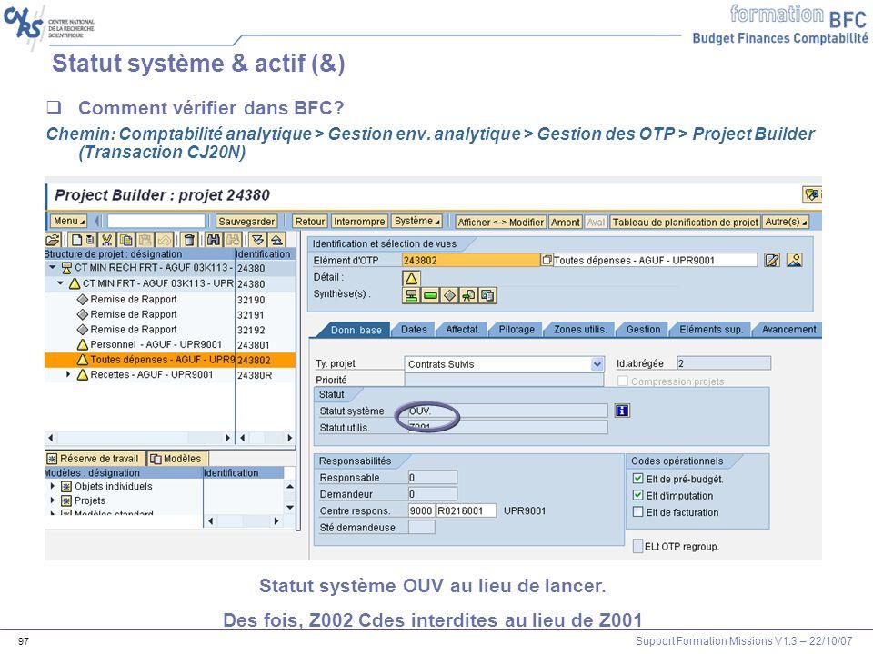 Statut système & actif (&)