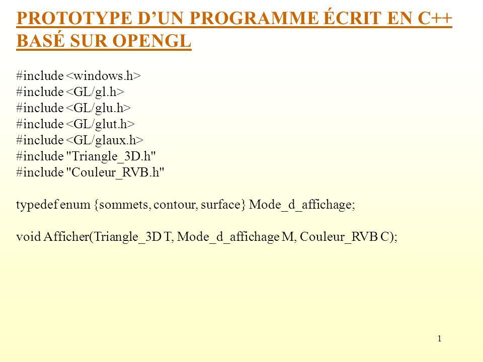 PROTOTYPE D'UN PROGRAMME ÉCRIT EN C++ BASÉ SUR OPENGL