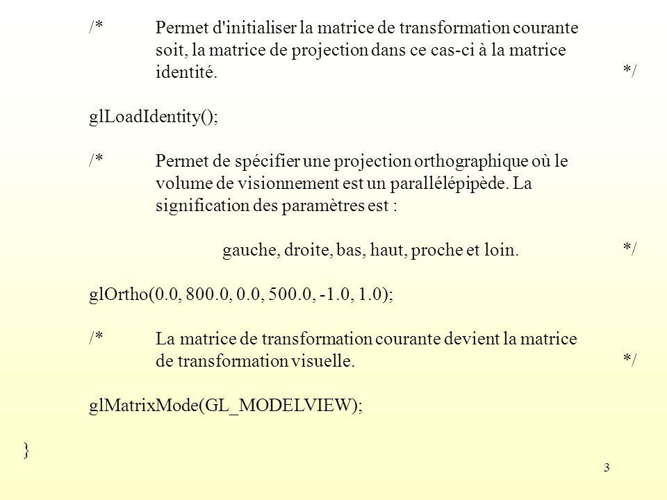 /* Permet d initialiser la matrice de transformation courante