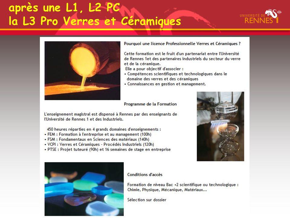 après une L1, L2 PC la L3 Pro Verres et Céramiques