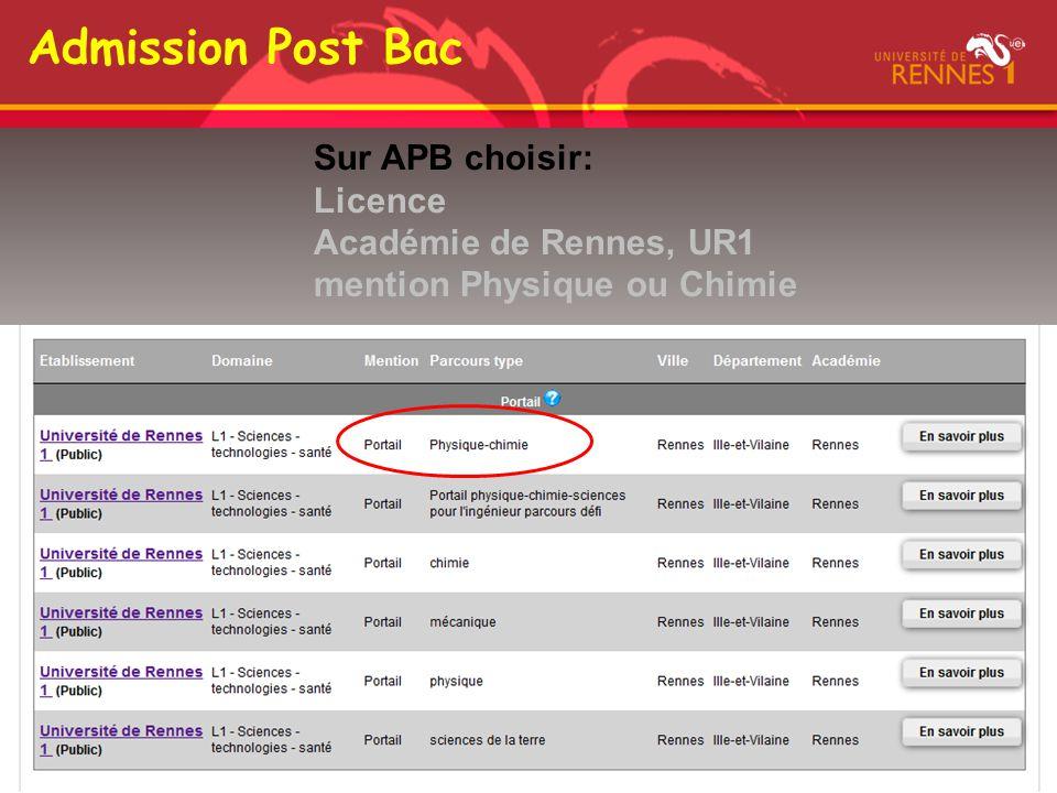 Admission Post Bac Sur APB choisir: Licence Académie de Rennes, UR1