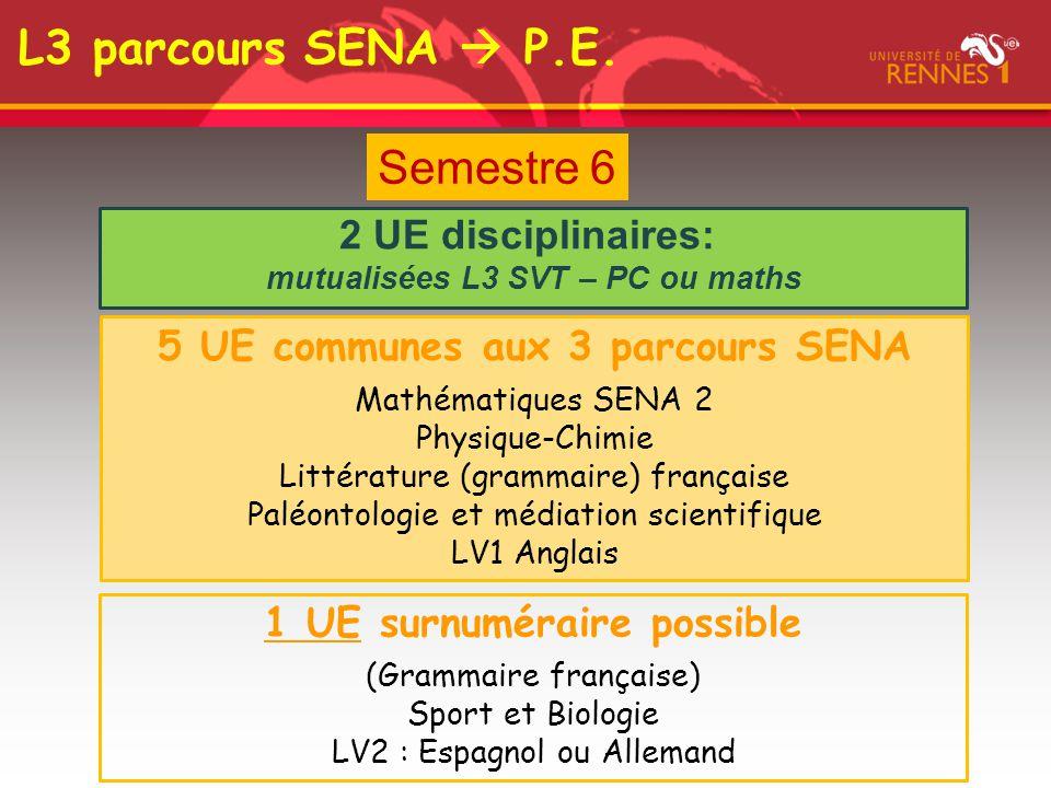 L3 parcours SENA  P.E. Semestre 6 2 UE disciplinaires: