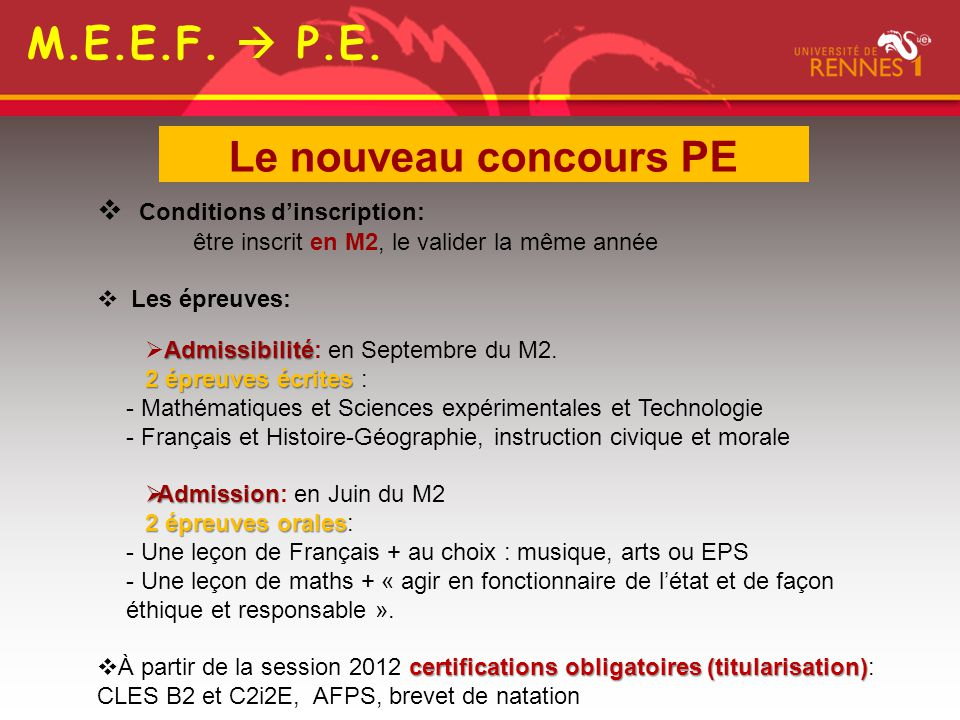 M.E.E.F.  P.E. Le nouveau concours PE Conditions d'inscription: