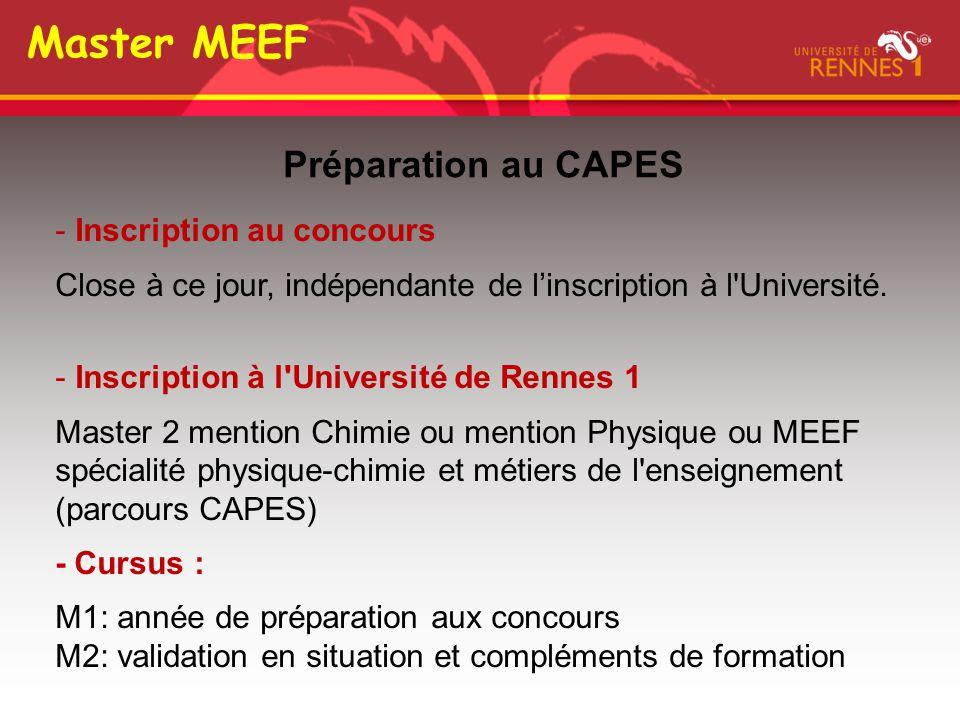 Master MEEF Préparation au CAPES Inscription au concours