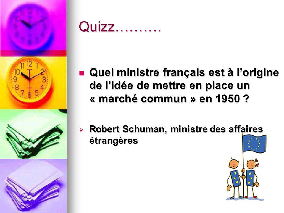 Quizz………. Quel ministre français est à l'origine de l'idée de mettre en place un « marché commun » en 1950