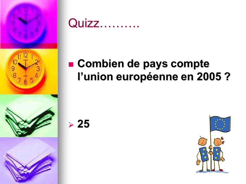 Quizz………. Combien de pays compte l'union européenne en 2005 25