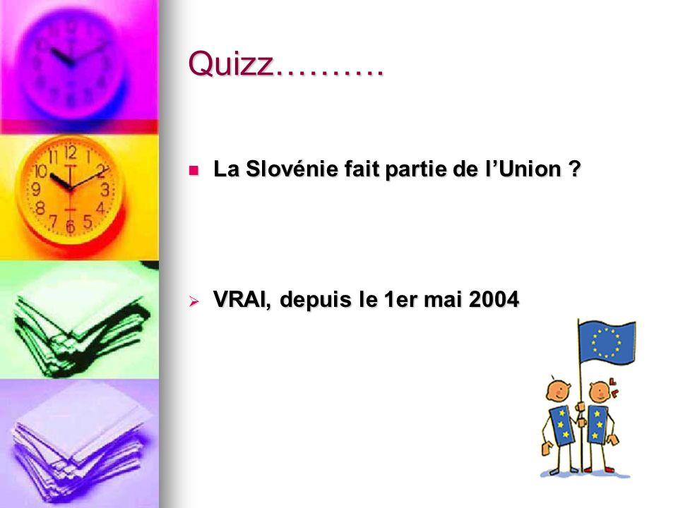 Quizz………. La Slovénie fait partie de l'Union
