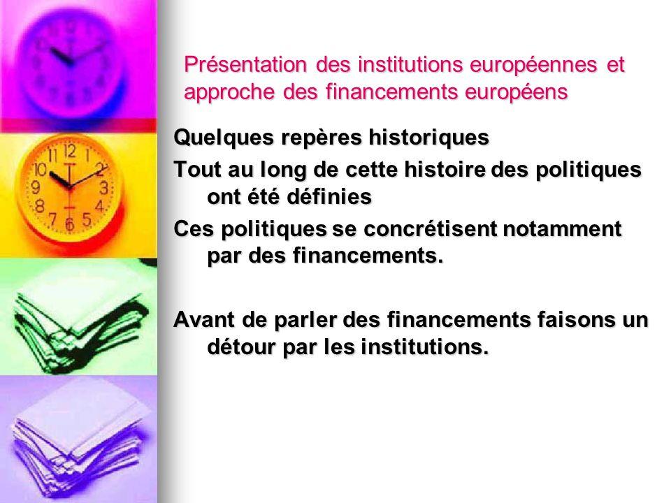 Présentation des institutions européennes et approche des financements européens