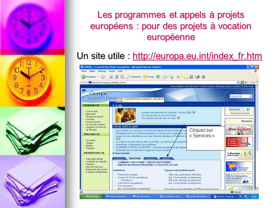Un site utile : http://europa.eu.int/index_fr.htm