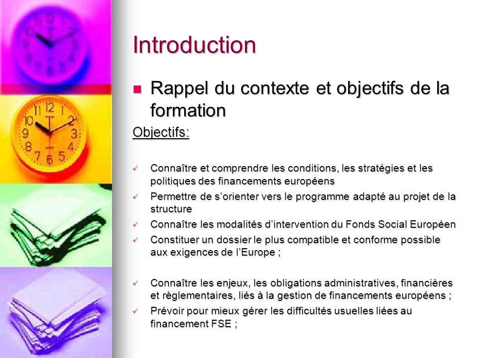 Introduction Rappel du contexte et objectifs de la formation