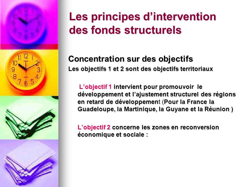 Les principes d'intervention des fonds structurels
