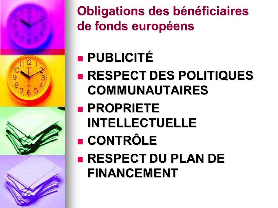 Obligations des bénéficiaires de fonds européens