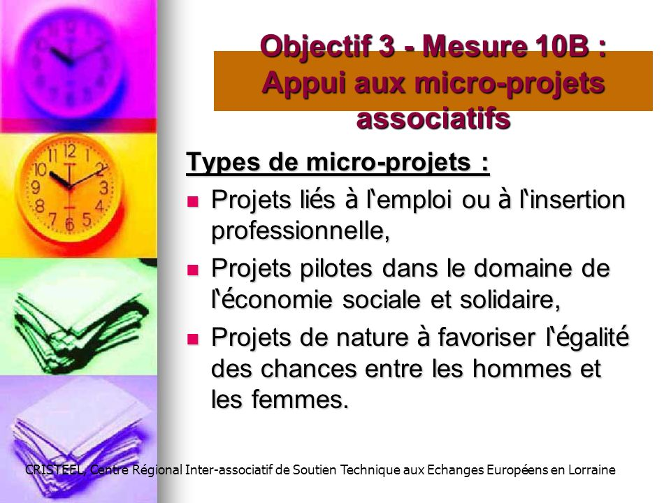 Objectif 3 - Mesure 10B : Appui aux micro-projets associatifs