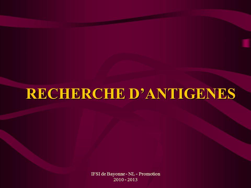 RECHERCHE D'ANTIGENES