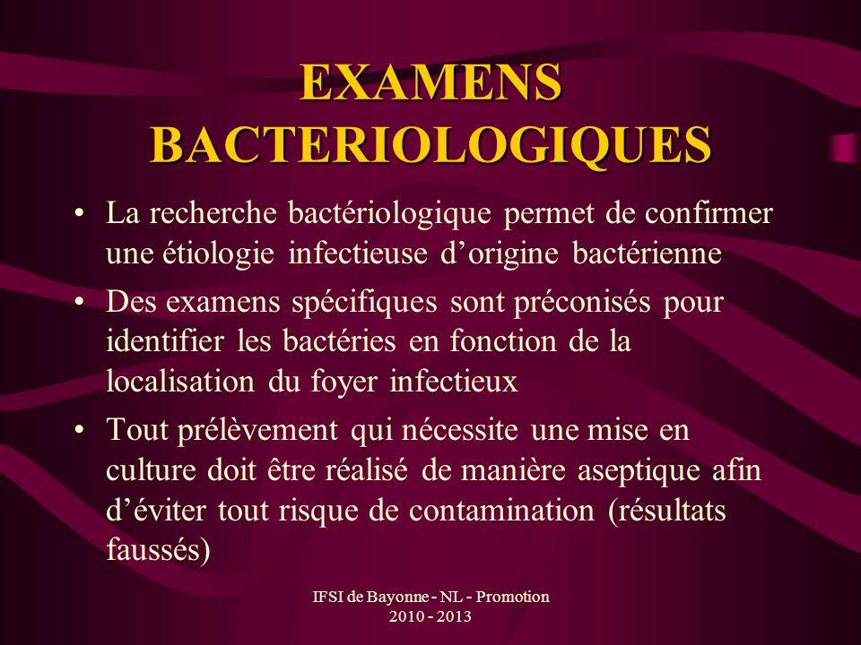 EXAMENS BACTERIOLOGIQUES