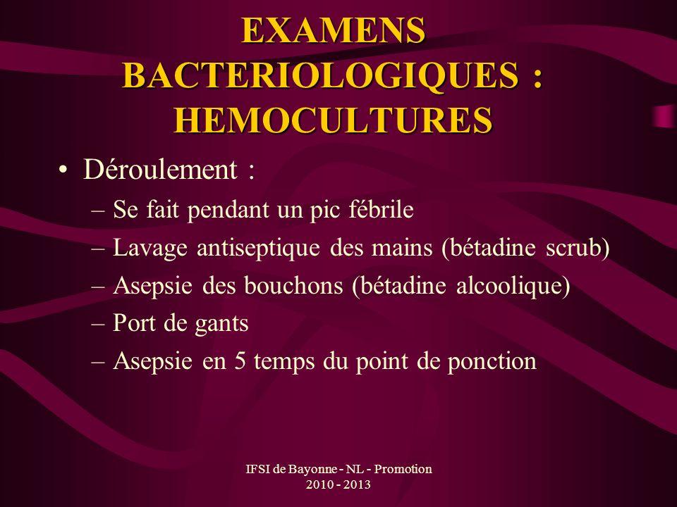 EXAMENS BACTERIOLOGIQUES : HEMOCULTURES