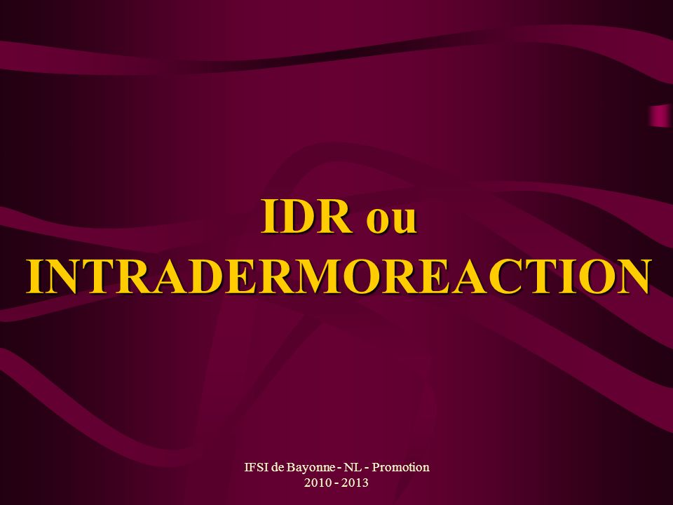 IDR ou INTRADERMOREACTION