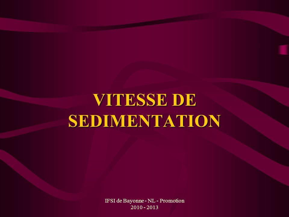 VITESSE DE SEDIMENTATION
