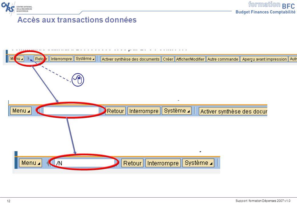 Accès aux transactions données