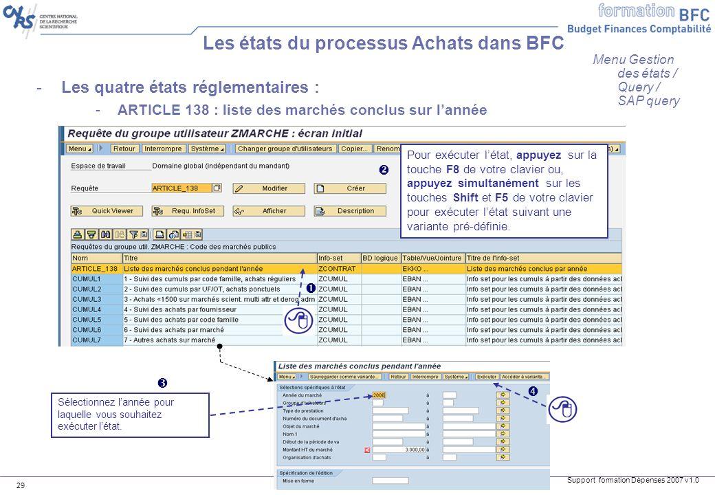 Les états du processus Achats dans BFC