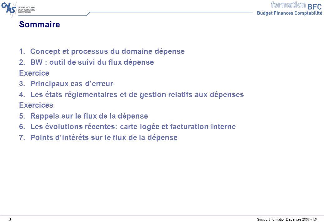 Sommaire Concept et processus du domaine dépense
